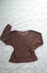 Blusa fio Lezalez. Blusa tricot lezalez. Blusa marron. Desapego blusa