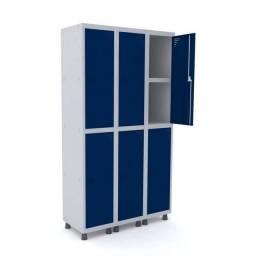 Roupeiro de aço 6 portas azul - Nilko