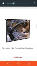 Tela de projeção profissional mapa 2,40x1,80 frontal marca projetelas