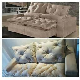 Sofá Retrátil e Reclinável 4 Lugares Elegance 2,30m Pague em casa