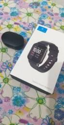 Smartwatch Haylou LS02 e fone bluetooth redmi