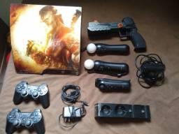 PS3 Slim com HD 750GB + Jogos digitais e físicos + periféricos