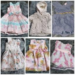 5 vestidos de festa + 1 jaqueta tamanho 1 ano
