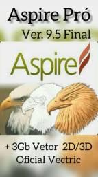 DVD Programa Aspire Pró 9.5 FINAL Profissional para CNC Router + Vetores Brindes<br><br>
