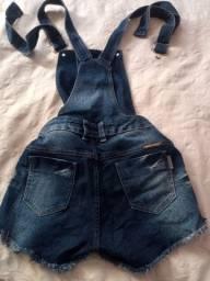 Jardineira jeans shorts/saia kairomany