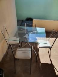 Mesa cromada 4 cadeiras