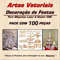 Artes Vetoriais Decoração De Festas CNC Router/Laser 100 Pçs<br>