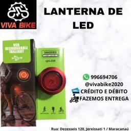 Lanterna Traseira em Led USB Recarregavel Bike Ciclismo