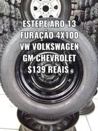 Roda aro 13 para estepe com pneu 175/70/13. Disk entrega