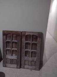 Porta janela madeira usada