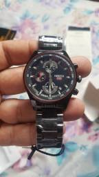 relogio nibosi preto  com cronografo e calendário