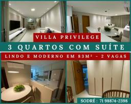 Villa Privilege - 3 Quartos - Suíte, Semi-Mobiliado em 83m² - 2 vagas
