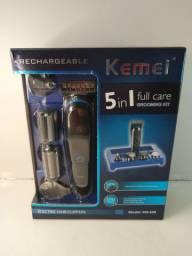 Máquina de cortar cabelo completa kemei 5em1 grande promoção