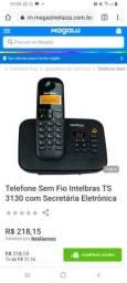 Vendo telefone sem fio da Intelbrás com secretária eletrónica em perfeito estado