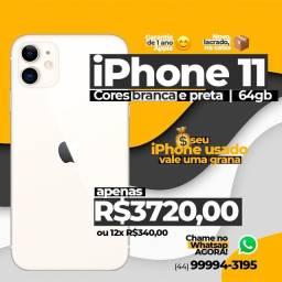 Iphone 11 NOVO 64GB 3720,00 novo na maringaiphones / Lacrado/ Nacional / 1 Ano de Garantia