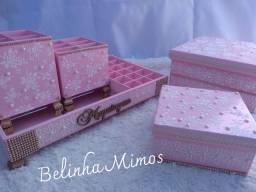 Kit Organizador de Maquiagem de Luxo rosa com Pérolas