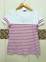 Camisa Elegante Listrada Branca e Rosa