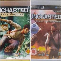 Jogos Uncharted 1 e 3 para PS3 - Mídia Física (2 Jogos/2 CDs)