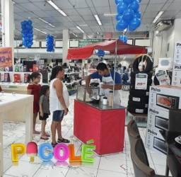 Inauguracao de lojas, lancamentos de produtos, Barraquinhas, locutor, personagens