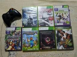 7 jogos + 1 controle Xbox 360 originais