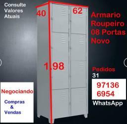 Armário Roupeiro 08 PP Portas- Novo- Chapa 26- Consulte Valores
