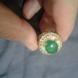 Anel coleção Jade cravejado com swarowsky e banho de Ouro 18k com garantia