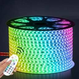 Kit 20m Fita RGB Colorido 127v + Controladora e Controle