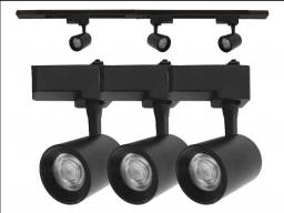 Kit Trilho Eletrificado 1metro + 3 Spots Led 7w preto ou branco