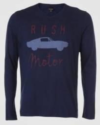 Camiseta Malwee Rush Motor Azul-Marinho Manga: Longa Gola: V Medidas da peça no tamanho M
