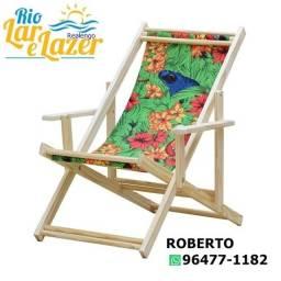 Cadeira Espreguiçadeira Dobrável Madeira Maciça Natural