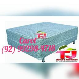 Cama Box Casal Molas leve 2 travesseiros/______