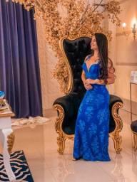 Vestido Festa/Madrinha Azul com renda