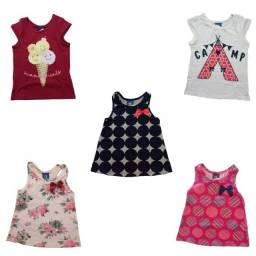 Título do anúncio: kit 5 Camisetas Regatas Verão Menina Infantil Tam:2