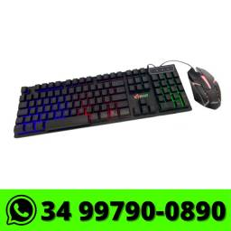 Kit Teclado e Mouse Gamer c/ Fio USB Xtrad Led Rgb