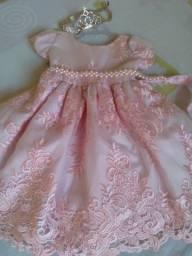 Vestido de princesa veste até 1a 3 ano coroa de estrai completo no precinho
