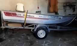 Título do anúncio: Barco Karib 410 Metal Glass  e Reboque de embarque.