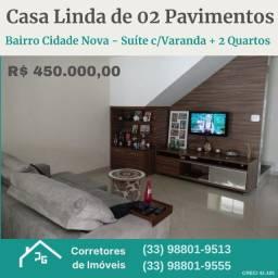 Casa Linda de 02 Pavimentos no Bairro Cidade Nova.