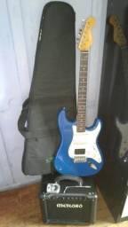 Guitarra punkd com amplificador meteoro troco