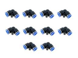 Kit 10 Peças Conexões Pneumáticas Instantâneas Cotovelo 06mm - PUL-06