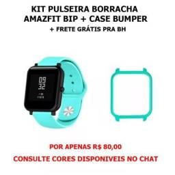 Kit Pulseira borracha Amazfit Bip + Case Bumper + frete gratis pra BH por apenas R$ 80,00