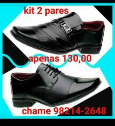 Kit com 2 pares de sapatos sociais