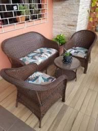 Título do anúncio: Conjunto de sofa italiano em fibra sintetica