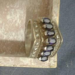 Anel coleção ametista, prata, filetes de Ouro 18k