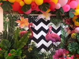 Painel aniversário tema flamingo ou tropical