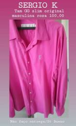 1 Camisa Rosa marca SERGIO K tam GG n46 Original masculina nova