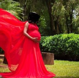 Vestido gestante para ensaio fotográfico - Grife Amada Mãe