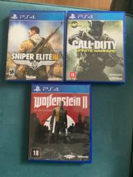 Jogo game ps4 Sniper Elite call of duty Infinite Warfare Wolfenstein vendo ou troco