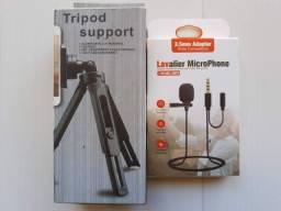 Título do anúncio: microfone lapela + suporte para celular