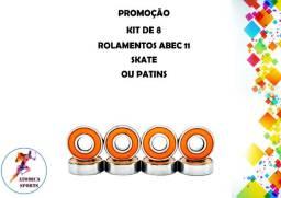 Kit 8 rolamentos para Skate Patins - Abec 11 modelo 608 2rs