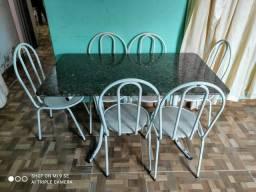 Mesa de 6 cadeiras Base de Mármore